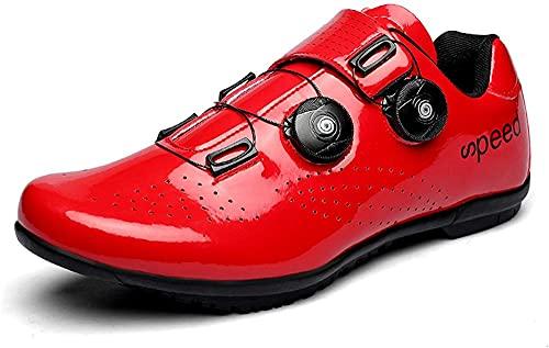 KUXUAN Zapatillas de Ciclismo para Hombre Zapatillas de Bicicleta de Carretera para Mujer con SPD,Zapatillas de Pelotón Unisex con Hebilla Compatibles con Delta,Red-37EU