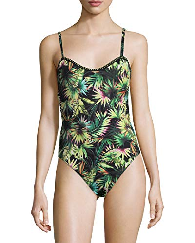 Lucky Brand Junior's Coastal Palms One Piece Swimsuit, Black, L