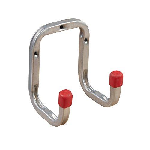 Gerätehalter Wand-Halterung Geräte-Haken Metall - Doppel-Wandhaken 90 mm - DUO | Stahl verzinkt | Allzweckhaken für Keller - Ordnung | Werkstatt-Haken zum Schrauben | 1 Stück - Schraubhaken Garage