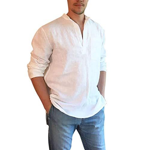 Camisas para Hombres Camisas Casuales de Color sólido Simples Europeas y Americanas Camisas Casuales cómodas para el hogar 3XL