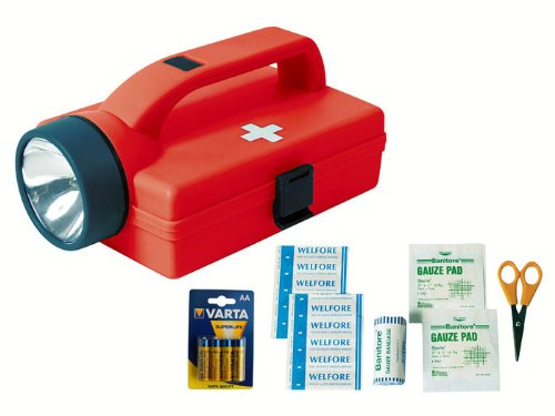Trendfinding 1. Erste Hilfe Koffer Set Kasten Tasche mit Taschenlampe, Schere, Zubehör u. 4 Varta AA Batterien