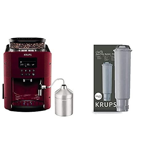 Krups Compact Cappucino EA8165 Cafetera Superautomática 15 Bares, Pantalla LCD + F08801 Filtro de Agua para cafeteras Claris, con iones y carbón activado de plata
