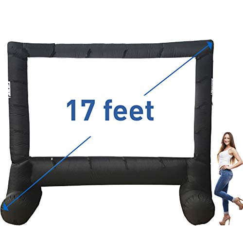 EasyGo Products 17' Inflatable Mega Movie Screen - Canvas Projection Screen for Outdoor Parties - Movie Cinema is Guaranteed to Thrill and Excite. Includes Inflation fan, Tie-Downs and Storage bag