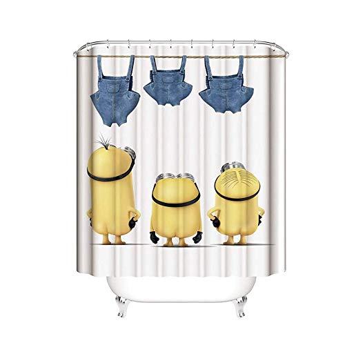 YiGanQiang Minion Duschvorhang Schimmelresistenter Textilwaschbarer Antibakterieller Duschvorhang 3D Wasserdichter Duschvorhang Mit 12 Duschvorhangringen (Color : 180 * 180cm)