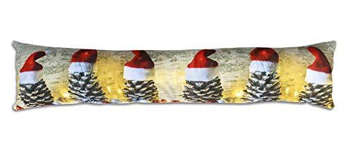 Vetrineinrete Paraspifferi Natalizio con 6 luci LED a Batteria sottoporta Antivento Cuscino per Correnti d'Aria parafreddo per Porte finestre infissi Decorazioni Natalizie 57211 (Pigne)