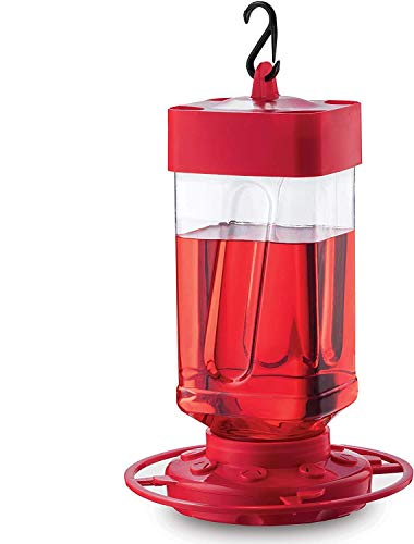 Hummingbird Feeders for Outdoors 32 oz First Nature Bee Proof Hummingbird Feeder - Circular Perch with 8 Feeding Ports - Wide Mouth for Easy Filling - 2 Part Base for Easy Cleaning