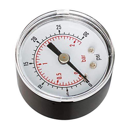 kowaku Manómetro de Presión Hidráulica de Montaje Metálico (0-30 PSI 0-2 Bar) para Aire/Aceite/Agua