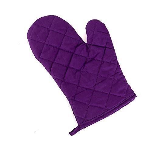 yurunn Alta Temperatura Horno microondas Horno Guantes Aislamiento Anti-escaldado Grueso púrpura