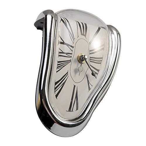 MOVKZACV Reloj de fusión, estante de mesa, reloj de moda Salvador Dali de fusión distorsionado reloj de pared de cuarzo para decoración, divertido reloj de pared de fusión (plata)