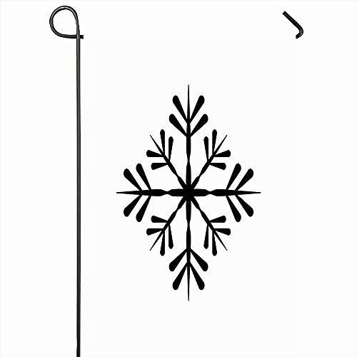 VVGETE Outdoor Garten Flagge 30X45 cm Schnee Schneefall Schwarz Schneeflocke Ferien Abstrakt EIS Piktogramm Weiß Feier Weihnachten Kalt Cool Home Decor Saisonale Doppelseiten Haus Hof Zeichen Banner