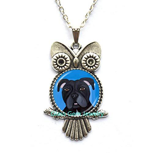 Pit Bull Collar con colgante de búho americano Pitbull Terrier para mascotas con colgante de rescate de bulldog, joyería para amantes de los animales, Q0222