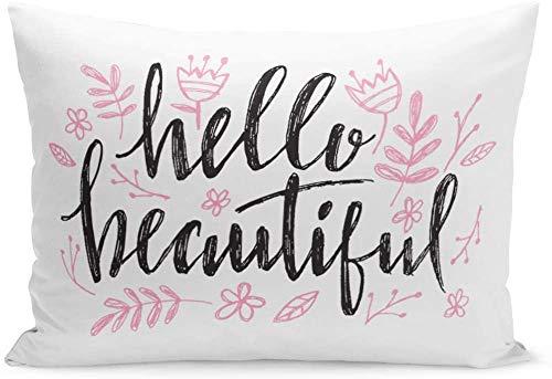 Funda de cojín para sofá de 20 x 26 pulgadas, diseño de corazón con texto en inglés 'Hello Hermosas frases para cumpleaños de bebé, belleza, acuarela y chica