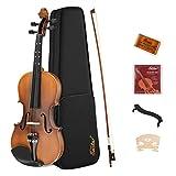 Eastar 4/4 Violine Set EVA-3 mit Lernpunkt in Fingerplatte mit Inlay mit Hardcase, Schulterstütze, Bogen, Kolophonium, Geige Brücke und Saiten, Matt