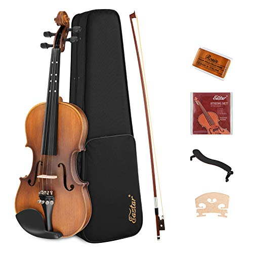 Eastar 3/4 Violine Set EVA-3 mit Lernpunkt in Fingerplatte mit Inlay mit Hardcase, Schulterstütze, Bogen, Kolophonium, Geige Brücke und Saiten, Matt