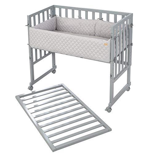roba, Stuben Beistellbett 3 in 1 style für alle Elternbetthöhen inklusive Matratze Nestchen und Barriere, grau
