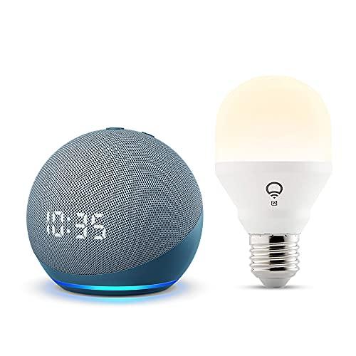 Echo Dot (4.ª generación), Azul grisáceo + LIFX Bombilla Inteligente Blanca (E27), compatible con Alexa