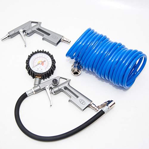 KFZ Druckluft Set 3-teilig Spiralschlauch 12 bar Reifenfüllmesser Ausblaspistole