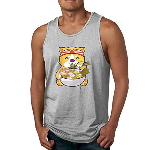 road Kawaii Shiba Inu Logo Mans 3D Print Tank Tops Muscle Shirt for Gym/Running/Workout Camisetas y Tops(Large)