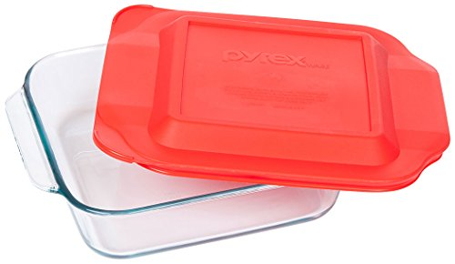 Pyrex 8 Inch Square Baking Dish, Red, 8-inches