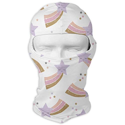 MKDOQS Rainbow Sweet Stars Pink Lilac Full Face Mask Sun Dust Wind Protection Durable Breathable Seamless Face Mask Bandana