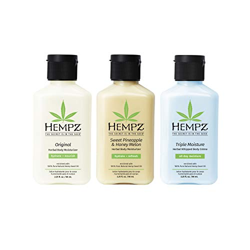 Hempz Original Sweet Pineapple amp Honey Melon and Triple Moisture Mini Moisturizers Pure Natural amp Herbal Hemp Seed Lotion for Dryness 225oz 3 Pack Mini Bundle
