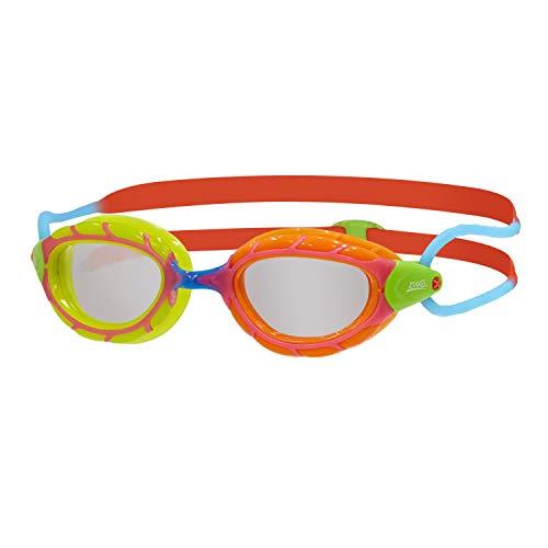 Zoggs Predator Junior, Occhialini da Nuoto Unisex-Youth, Verde/Arancione/Rosso/Blu/Trasparente, 6-14 Anni