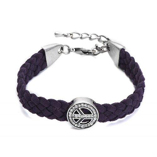 Lovely lauri 11399 ante pulsera símbolo de la Paz hippy usado de lila