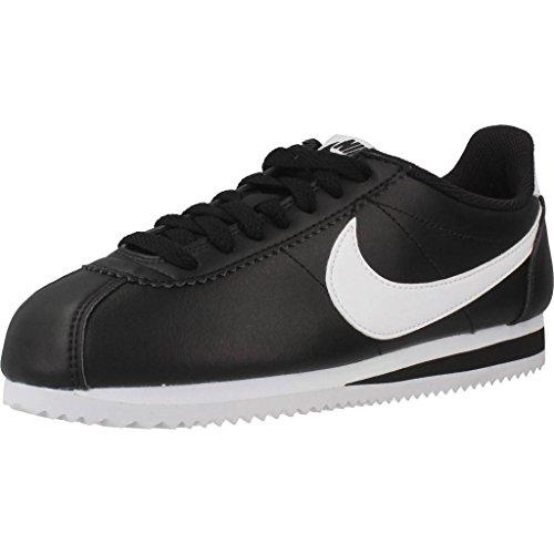 Nike Classic Cortez Leather, Zapatillas para Mujer, Negro (Black/White/White 010)