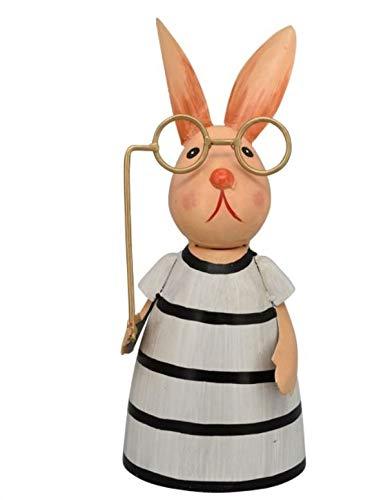 Metall Zaunfigur Hasenmädchen schwarz/weiß mit großer Brille 24 cm Ostern Deko (Metall, Streifen)