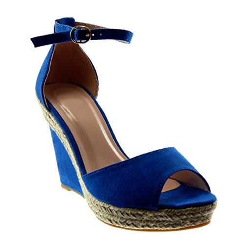 Angkorly - Zapatillas Moda Sandalias Mules Peep-Toe Correa de Tobillo Plataforma Mujer Cuerda Tanga Plataforma 11 CM - Azul eléctrico 056 T 41