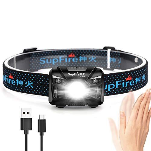 Supfire LED Stirnlampe Kopflampe Wasserdicht 300 Lumen LED Scheinwerfer mit rotem Licht und Temperatur schalter,wiederaufladbar mit USB-Kabel direkt,5 Modi für Camping,Radfahren.Modell HL06-X