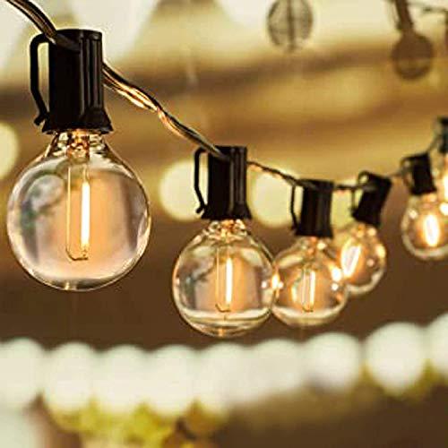 Svater G40 LED String Lights 25Ft 23Pcs LED Glass Globe Bulbs- Heavy Duty Festoon String Light,IP45 Outdoor String Lights Bulb 1W 2700K Warm for Home,Garden,Terrace,Party,Christmas,Wedding,WarmWhite