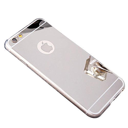 YMCCOOL für iPhone 6S Schutzhülle, iPhone 6 Handyhülle, Spiegel iPhone 6S Hülle Ultra Dünn Kratzfest Anti-Shock Silikon Flexibel Gel TPU Bumper Case für iPhone 6 / iPhone 6S Cover 4,7 Zoll Silber