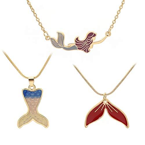 Amosfun 3 Piezas Collares Pendientes de Sirena Collar de clavícula Creativo para niñas Mujeres Damas cumpleaños Fiesta de Navidad Regalo de joyería