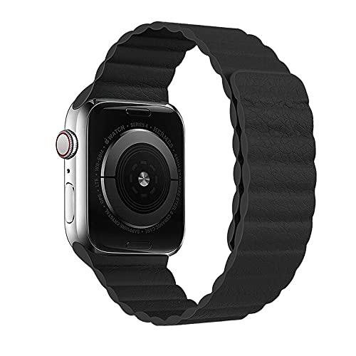 Hspcam Correa magnética para Apple Watch Correa de piel para Apple Watch 44 mm 40 mm Reemplazo iWatch Series 5 4 3 2 1 bandas de reloj (para 42 mm y 44 mm, negro)
