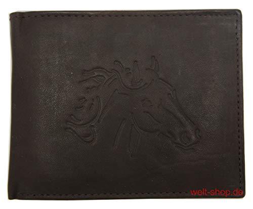 Geldbörse Geldbeutel Portemonnaie Leder Pferd geprägt RFID geschützt