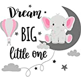 Dream Big Little One Elephant Wall Decals Baby Elephant Wall Stickers Cloud Moon and Star Decal Self Adhesive Wall Decor for Baby Kids Boy Girl Bedroom Nursery Cradle (Pink, Gray)