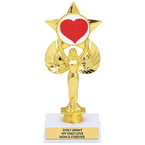 Custom Valentine's Day Heart Trophy for Galentine's Day, Your Spouse, Wife, Husband,Customize Free Engraving, Trophy Wife or Best Partner Award, 8.25 Inch Tall
