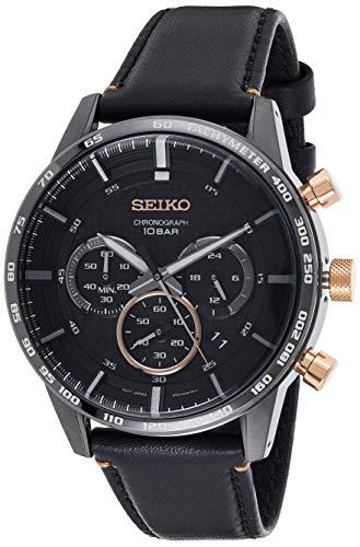 Seiko Herren Chronograph Quarz Uhr mit Leder Armband SSB361P1