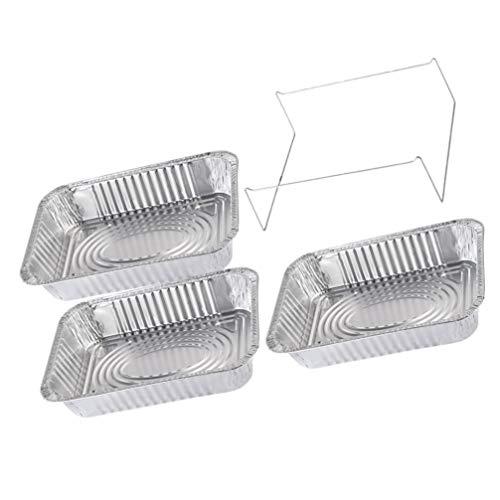 Hemoton 4 bandejas de goteo para barbacoa de aluminio con cubierta para restaurante en casa (3500 ml, 3 bandejas de goteo + soporte de soporte)