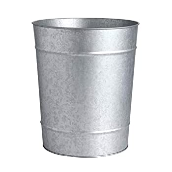 KMwares Decorative Round Rustic Galvanized Steel Metal Wastebasket/Trash Can/Garbage/Bucket - Vintage Farmhouse/Industry Home/Bathroom Decoration