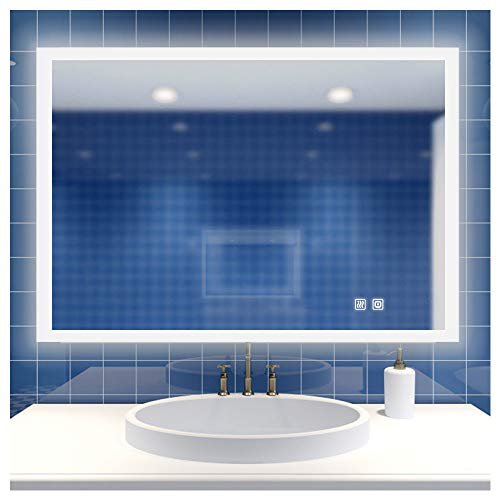 ROGSFN 36'x28' LED Bathroom Mirror Frosted Backlit Fogless Vanity Mirrors Lighted Framelss -