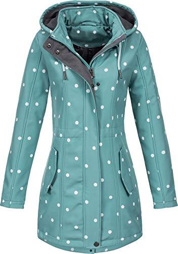 Top Fuel Fashion Damen Softshelljacke Kurzmantel Ivana Green/White dots L