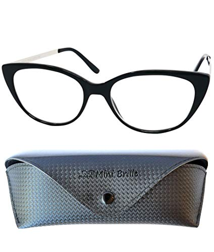 Gafas de Lectura de Ojos de Gato con Grandes Lentes - Funda de Gafas Incluida GRATIS, Montura de Plástico (Negra) con Patillas de Acero Inoxidable Para Leer Para Mujer +2.0 dioptrías