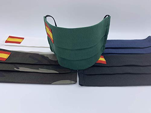 Pack 2 unidades de algodon Verde Azul Militar Negra Roja Rosa Blanca con bandera de España