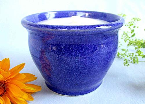 Kerzenfresser Keramik Indoor Kornblume, 11x8 cm, Wachsfresser für innen, Schmelzlicht, Tischfeuer, zum Schmelzen von Kerzen- und Wachsresten, mit nicht brennbarem Glasfaserdocht, reine Handarbeit