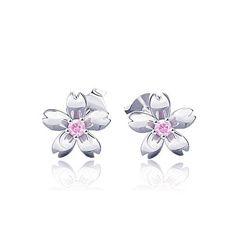 Plata de Ley 925con circonitas rosa Cherry Blossom pendientes studs