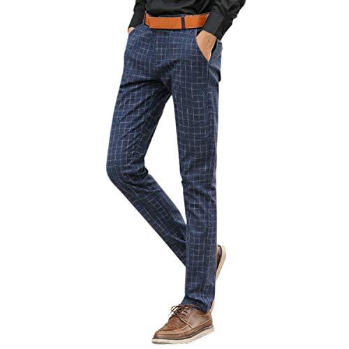Nvfshreu Pantalones Casuales De Los Chinos Pantalones Pantalones Hombres Cortos A Estilo Simple Cuadros Pantalones De Traje De Negocios Casual Cargo Pantalones (Color : Blau, Size : M)