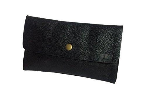 OB8 Federmäppchen aus weichem Leder, Mundschutztasche, handgefertigt, schwarz