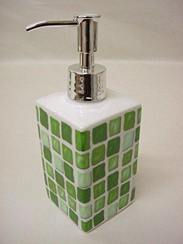 DOSIFICADOR DISPENSADOR JABON BAÑO Cuadrado Ming 280ML Porcelana GRESITE Mosaico Verde